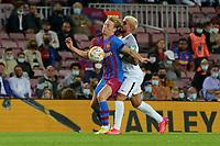 20th September 2021; Nou Camp, Barcelona, Spain; La Liga football league;  FC Barcelona versus Granada;   De Jong tries to hold off Monchu of Granada