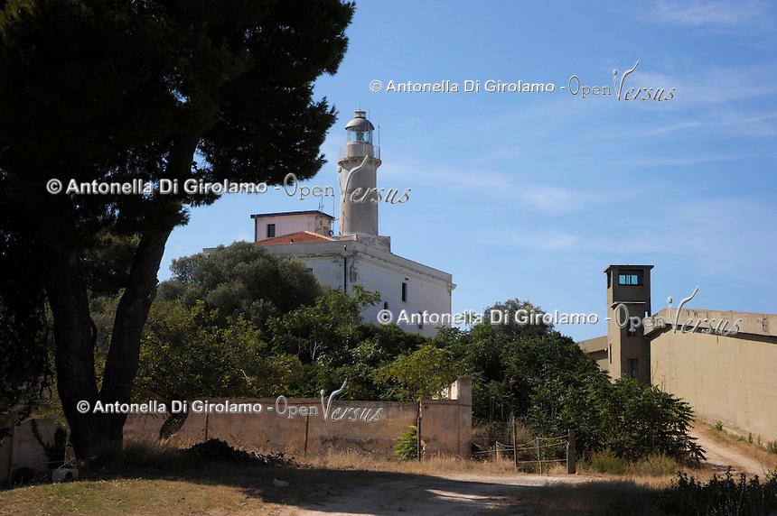 Isola di Pianosa.Pianosa Island.Pianosa. Il borgo.Village.Il faro. The lighthouse..