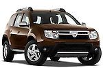 Low aggressive passenger side front three quarter view of a 2010 Dacia Duster 4 Door SUV.