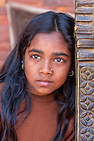 Bhaktapur, Nepal.  Young Girl with Nose Pin.