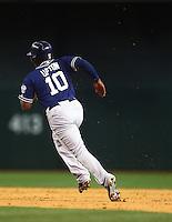May 8, 2015; Phoenix, AZ, USA; San Diego Padres outfielder Justin Upton runs the bases against the Arizona Diamondbacks at Chase Field. The Padres defeated the Diamondbacks 6-5. Mandatory Credit: Mark J. Rebilas-USA TODAY Sports