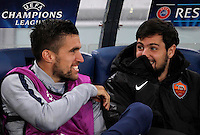 Calcio, Champions League, Gruppo E: Roma vs Manchester City. Roma, stadio Olimpico, 10 dicembre 2014.<br /> Roma's Kevin Strootman, left, and Mattia Destro smile on the bench prior to the start of of the Champions League Group E football match between Roma and Manchester City at Rome's Olympic stadium, 10 December 2014. Manchester City won 2-0.<br /> UPDATE IMAGES PRESS/Isabella Bonotto