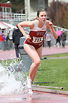 Amanda Andrews, Washington State junior, competes in the 3000 meter steeplechase during the Cougars dual track and field meet with arch-rival Washington at Mooberry Track at Washington State University in Pullman, Washington, on May 1, 2010.