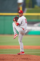 Palm Beach Cardinals starting pitcher Derian Gonzalez (16) delivers a warmup pitch during a game against the Clearwater Threshers on April 14, 2017 at Spectrum Field in Clearwater, Florida.  Clearwater defeated Palm Beach 6-2.  (Mike Janes/Four Seam Images)