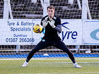 5th April 2021; Palmerston Park, Dumfries, Scotland; Scottish Cup Third Round, Queen of the South versus Hibernian; Matt Macey of Hibernian warms up before kick off in the early evening sun