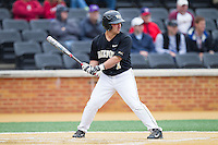 Joey Rodriguez (7) of the Wake Forest Demon Deacons at bat against the Florida State Seminoles at Wake Forest Baseball Park on April 19, 2014 in Winston-Salem, North Carolina.  The Seminoles defeated the Demon Deacons 4-3 in 13 innings.  (Brian Westerholt/Four Seam Images)
