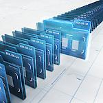 Row of virtual folders with data inside