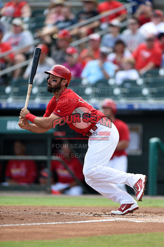 St. Louis Cardinals third baseman Matt Carpenter (13) during a Spring Training game against the New York Mets on April 2, 2015 at Roger Dean Stadium in Jupiter, Florida.  The game ended in a 0-0 tie.  (Mike Janes/Four Seam Images)