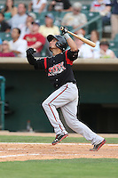 Benji Gonzalez #19 of the Lake Elsinore Storm bats against the Lancaster JetHawks at The Hanger on August 2, 2014 in Lancaster, California. Lake Elsinore defeated Lancaster, 5-1. (Larry Goren/Four Seam Images)