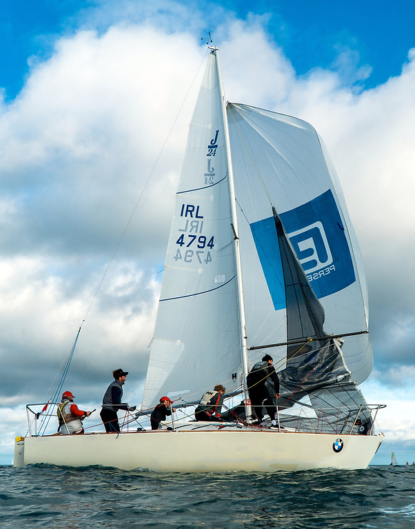 Let's hear it for Bray – Flor O'Driscoll of Bray SC in action at Howth with his J/24 Hard on Port. Photo: Annraoi Blaney
