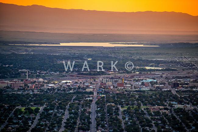 Aerial of downtown Pueblo, Colorado at sunset.