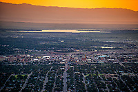 Aerial of downtown Pueblo, Colorado at sunset.