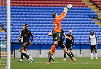 Oldham Athletic's goalkeeper Laurence Bilboe<br /> punches clear<br /> <br /> Photographer Andrew Kearns/CameraSport<br /> <br /> The EFL Sky Bet League Two - Bolton Wanderers v Oldham Athletic - Saturday 17th October 2020 - University of Bolton Stadium - Bolton<br /> <br /> World Copyright © 2020 CameraSport. All rights reserved. 43 Linden Ave. Countesthorpe. Leicester. England. LE8 5PG - Tel: +44 (0) 116 277 4147 - admin@camerasport.com - www.camerasport.com