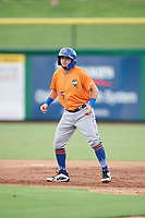 St. Lucie Mets third baseman Michael Paez (5) leads off first base during a game against the Clearwater Threshers on August 11, 2018 at Spectrum Field in Clearwater, Florida.  St. Lucie defeated Clearwater 11-0.  (Mike Janes/Four Seam Images)