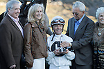 """Jon Court accepting the trophy after the running of the Smarty Jones stakes. He won by a nose aboard """"Will Take Charge"""" Jan.21, 2013 - Hot Springs, Arkansas, U.S -   (Credit Image: © Justin Manning/Eclipse/ZUMAPRESS.com)"""