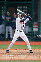 Pavin Smith (10) of the Virginia Cavaliers at bat against the Hartford Hawks at The Ripken Experience on February 27, 2015 in Myrtle Beach, South Carolina.  The Cavaliers defeated the Hawks 5-1.  (Brian Westerholt/Four Seam Images)