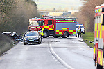 The scene outside the Irish Cement factory at Platin outside Drogheda, the remains of the Toyota car in the ditch and the lorry not visible. reports that one fatality an occupant from the car three others were removed and taken to Our lady of Lourdes Hospital in Drogheda, The road remains closed with diversions in place.<br /> Picture www.newsfile.ie