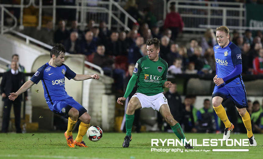 2017 SSE Airtricity League Premier Division,<br /> Cork City vs Bray Wanderers,<br /> Friday 27th October 2017,<br /> Turners Cross, Cork.<br /> Cork's Connor Ellis with Derek Foran of Bray.<br /> Photo By: Michael P Ryan