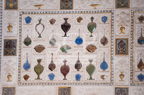 Jaipur, India. The Amber fort, semi precious stone in the shape of bottles inlay work.