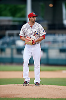 Harrisburg Senators starting pitcher Brady Dragmire (34) gets ready to deliver a pitch during the second game of a doubleheader against the New Hampshire Fisher Cats on May 13, 2018 at FNB Field in Harrisburg, Pennsylvania.  Harrisburg defeated New Hampshire 2-1.  (Mike Janes/Four Seam Images)