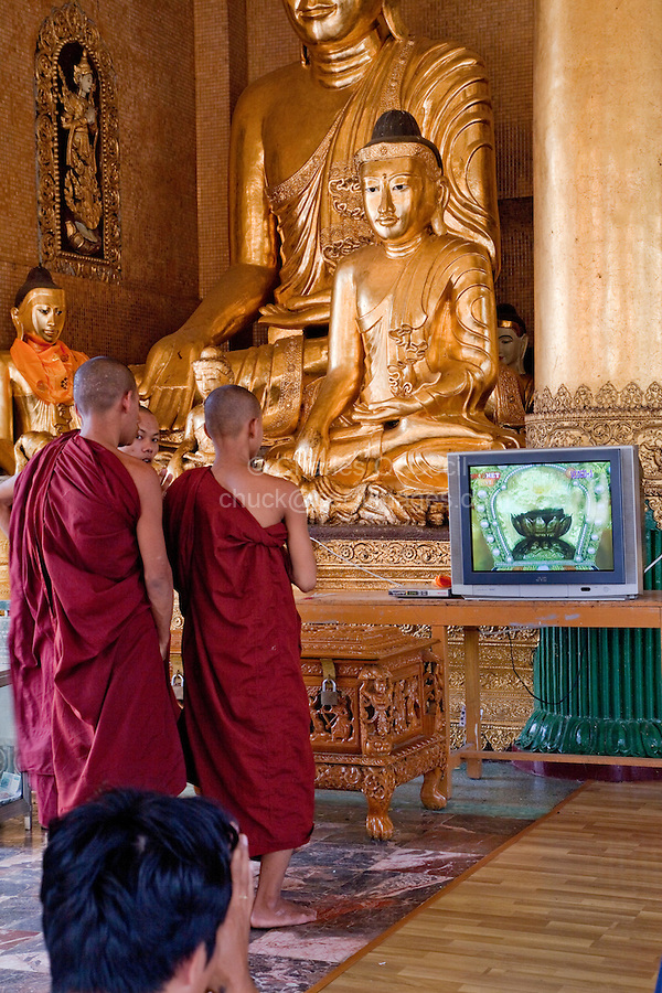 Myanmar, Burma.  Shwedagon Pagoda, Yangon, Rangoon.  Young Monks at Buddha Shrine.