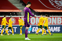 24th March 2021; Leuven, Belgium; Thibaut Courtois goalkeeper of Belgium looks dejected as Harry Wilson  of Wales scores his goal in the 10th minute during the World Cup Qatar 2022 Qualifiers Match between Belgium and Wales on March 24, 2021 in Leuven, Belgium