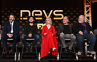 "PASADENA, CA - JANUARY 9: (L-R) Cast members Nick Offerman, Jin Ha, Alison Pill, Zach Grenier, and Stephen McKinley Henderson attend the panel for ""Devs"" during the FX Networks presentation at the 2020 TCA Winter Press Tour at the Langham Huntington on January 9, 2020 in Pasadena, California. (Photo by Frank Micelotta/FX Networks/PictureGroup)"