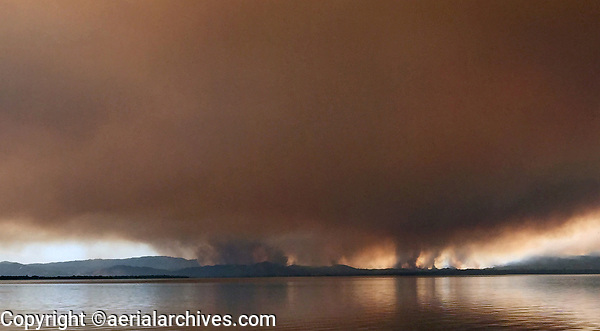 River Fire, Mendocino Complex Fires, 2018, from Lucerne towards Lakeport across Clear Lake, Lake County, California.