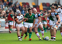 9th October 2021; Brentford Community Stadium, Brentford, London; Gallagher Premiership Rugby, London Irish versus Leicester Tigers; Nick Phipps of London Irish drops the ball under pressure during a run