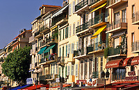 Cannes, Provence, France. Facades in Rue d'Antibes.