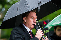 Monday 05 June 2017<br /> Pictured: Leader of Swansea City Council Rob Stewart addresses the public at the event <br /> Re: A vigil has been held in Swansea City Centre to remember the victims of the recent terror attack in London. Stand up to Racism Swansea have organised the event alongside Swansea Coalition Against War and Swansea People's Assembly.