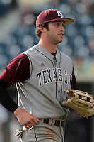 Tyler Naquin #18 of the Texas A&M Aggies during a game against the Pepperdine Waves at Eddy D. Field Stadium on March 23, 2012 in Malibu,California. Texas A&M defeated Pepperdine 4-0.(Larry Goren/Four Seam Images)
