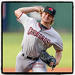 Zak Kent of the Hickory Crawdads has been named High-A East Pitcher of the Week for July 12-18. He's pictured in a game against the Greenville Drive on Friday, June 18, 2021, at Fluor Field at the West End in Greenville, South Carolina. (Tom Priddy/Four Seam Images) #milb