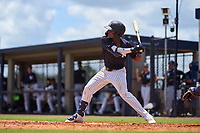 FCL Yankees Alexander Vargas (14) bats during a game against the FCL Blue Jays on June 29, 2021 at the Yankees Minor League Complex in Tampa, Florida.  (Mike Janes/Four Seam Images)