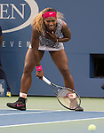 Serena Williams (USA)  celebrates her win over Caroline Wozniacki (DEN) 6-3, 6-3  at the US Open being played at USTA Billie Jean King National Tennis Center in Flushing, NY on September 7, 2014