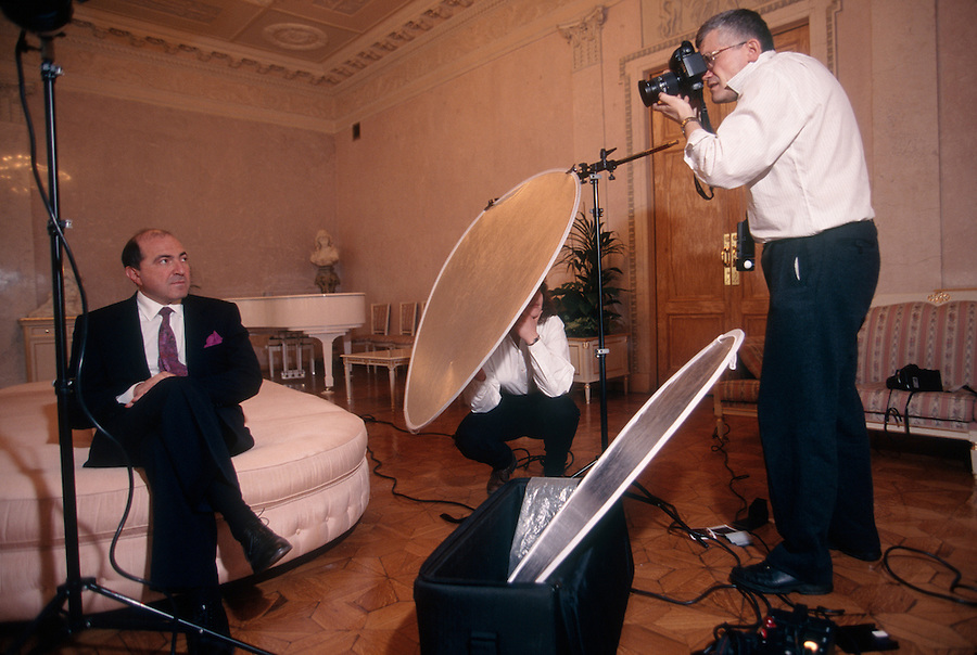 Moscow, Russia, 1997..Billionaire businessman and Kremlin insider Boris Berezovsky in his private club during photo sesion with Time photographer Sergei Guneyev.