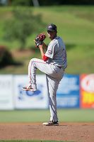 Greenville Drive starting pitcher Roniel Raudes (34) in action against the Kannapolis Intimidators at Intimidators Stadium on June 7, 2016 in Kannapolis, North Carolina.  The Drive defeated the Intimidators 4-1 in game one of a double header.  (Brian Westerholt/Four Seam Images)