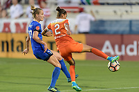 Frisco, TX - Sunday September 03, 2017: Beverly Yanez and Poliana Barbosa Medeiros during a regular season National Women's Soccer League (NWSL) match between the Houston Dash and the Seattle Reign FC at Toyota Stadium in Frisco Texas. The match was moved to Toyota Stadium in Frisco Texas due to Hurricane Harvey hitting Houston Texas.