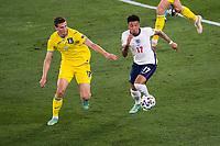 3rd July 2021, Stadio Olimpico, Rome, Italy;  Euro 2020 Football Championships, England versus Ukraine quarter final;  Jadon Sancho England against Illia Zabarnyi Ukraine