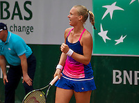 Paris, France, 26 June, 2016, Tennis, Roland Garros,  Kiki Bertens (NED) jubilates after she defeated Italian Giorgi and proceds to the third round<br />
