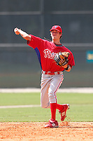 Philadelphia Phillies shortstop Tyler Greene #6 during an Instructional League game against the Pittsburgh Pirates at Pirate City on October 11, 2011 in Bradenton, Florida.  (Mike Janes/Four Seam Images)
