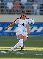 Cat Whitehill finishes her kick. USA defeated Japan 4-1 at Spartan Stadium in San Jose, CA on July 28, 2007.