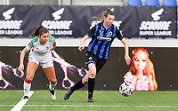Nicky Van Den Abbeele (28 Brugge) pictured with OHL's Luna Vanzeir during a female soccer game between Club Brugge Dames YLA and Oud Heverlee Leuven on the 8 th matchday of the 2020 - 2021 season of Belgian Scooore Womens Super League , saturday 21 th November 2020  in Knokke , Belgium . PHOTO SPORTPIX.BE | SPP | DAVID CATRY