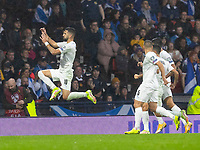 9th October 2021; Hampden Park, Glasgow, Scotland; FIFA World Cup football qualification, Scotland versus Israel; Munas Dabbur of Israel celebrates as he makes it 1-2 in the 32nd minute from a disputed cross and handball