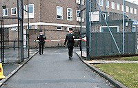 RUC officers leaving their heavily fortified police station to begin armed foot patrol on the streets of Northern Ireland. This image may only be used to portray the subject in a positive manner..©shoutpictures.com..john@shoutpictures.com