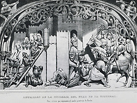 Spain (1485). Reconquest. Assault and delivering of Ronda to the Catholic Monarchs. Reproduction of a detail of the choir chai