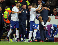 Aleksandar Mitrovic of Serbia (R) is carried by a team mate from the bench after scoring his equaliser during the 2018 FIFA World Cup Qualifier between Wales and Serbia at the Cardiff City Stadium, Wales, UK. Saturday 12 November 2016