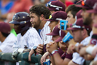 Mississippi State first baseman Wes Rea (35) in the dugout with his teammates during Game 1 of the 2013 Men's College World Series Finals against the UCLA Bruins on June 24, 2013 at TD Ameritrade Park in Omaha, Nebraska. The Bruins defeated the Bulldogs 3-1, taking a 1-0 lead in the best of 3 series. (Andrew Woolley/Four Seam Images)
