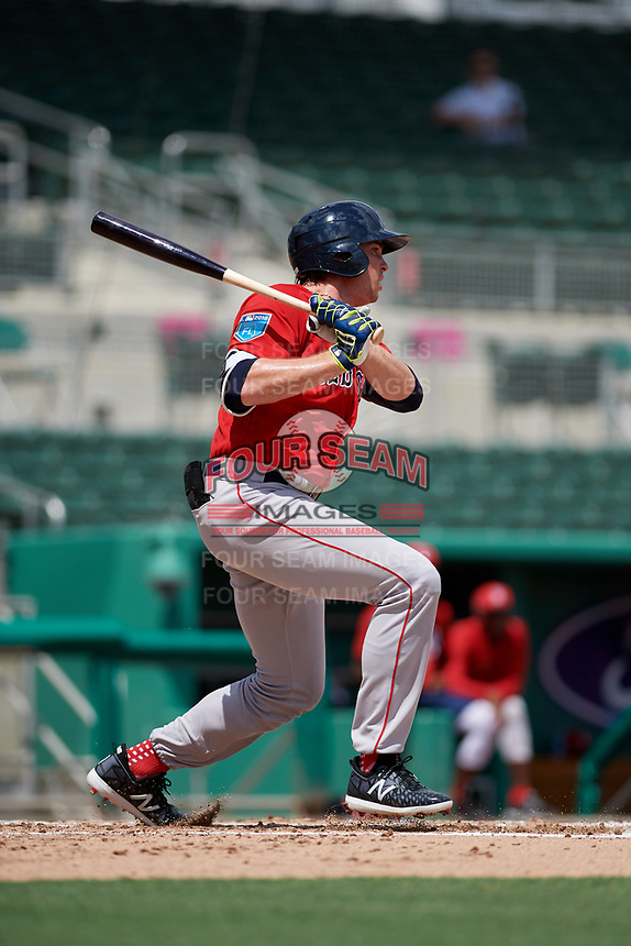 Boston Red Sox third baseman Triston Casas (19) grounds out during a Florida Instructional League game against the Baltimore Orioles on September 21, 2018 at JetBlue Park in Fort Myers, Florida.  (Mike Janes/Four Seam Images)