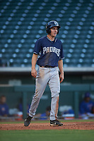 AZL Padres 1 Chris Givin (9) reacts after scoring a run during an Arizona League game against the AZL Cubs 1 on July 5, 2019 at Sloan Park in Mesa, Arizona. The AZL Cubs 1 defeated the AZL Padres 1 9-3. (Zachary Lucy/Four Seam Images)